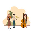 group people with musical instruments in vector image vector image