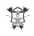 grunge hunting club crest with carbines and elk vector image vector image