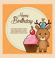 happy birthday card with cute reindeer vector image