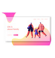 happy family on shopping landing page mother vector image
