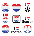I love Dutch football soccer icons set vector image vector image