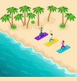 isometry beautiful girls engaged fitness on beach vector image