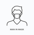 man in mask flat line icon outline vector image vector image