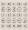 Media player button icons set with long shadow vector image