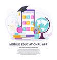mobile educational app flat concept vector image