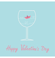 Origami paper boat and heart wave wine glass vector image
