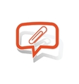 Paperclip message sticker orange vector image vector image