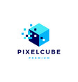 pixel cube box digital logo icon vector image