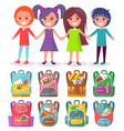 pupils and backpack sticker school sign vector image vector image