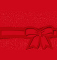 red festive background with bow and ribbon vector image vector image