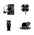 saint patricks day glyph icons set vector image