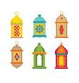 set arabic lanterns colorful decorative vector image vector image