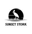 silhouette stork with sunset background logo vector image vector image