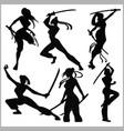 silhouettes - girls with katana - mma woman vector image vector image