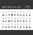 simple icons world rock-n-roll day vector image
