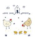 stupid crazy cool birds walking near the henhouse vector image