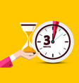 three minutes countdown design on yellow vector image vector image