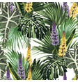 tropical jungle plants lupines flowers and palm vector image vector image