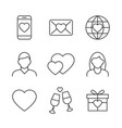 valentines day linear icons on white background vector image vector image