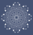 white lace on a blue background white mandala vector image