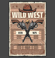 wild west saloon revolvers and cowboy hat vector image vector image