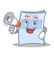 with megaphone newspaper character cartoon style vector image