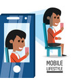 woman with smartphone in the hand taking of selfie vector image vector image