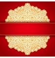 Gold and red round ornament invitation pattern vector image