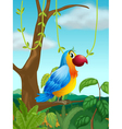 A colorful parrot at the branch of a tree vector image vector image