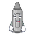 afraid grey crayon in mascot shape