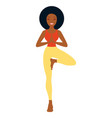 afro - american woman in yoga standing pose white vector image