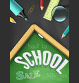 back to school sale concept with school supplies vector image vector image