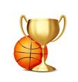 basketball award basketball ball golden vector image vector image