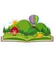 book with children in the farm vector image vector image