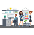 Business professional women work the team office vector image vector image
