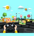car on street with gps navigation pins on city vector image vector image