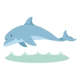 Cartoon graceful blue dolphin with a vector image vector image