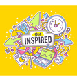 colorful of office objects with text on yell vector image