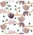 cute sloth cartoon climbing tree vector image