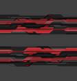 dark grey metallic cyber circuit red technology vector image vector image