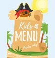 design for kids menu vector image vector image