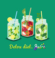detox diet poster mug set vector image vector image
