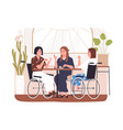 disabled people in cafe concept wheelchair vector image