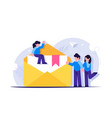email marketing concept people stand near an open vector image vector image