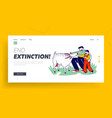 father and son in farm outdoor zoo landing page vector image