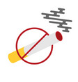 flat colored with prohibition of smoking nicotine vector image vector image