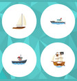 flat icon boat set of yacht transport vessel and vector image vector image