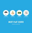 flat icon gain set of money box diagram parasol vector image vector image