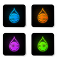 glowing neon earth planet in water drop icon vector image