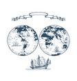 graphic earth globe hemispheres vector image